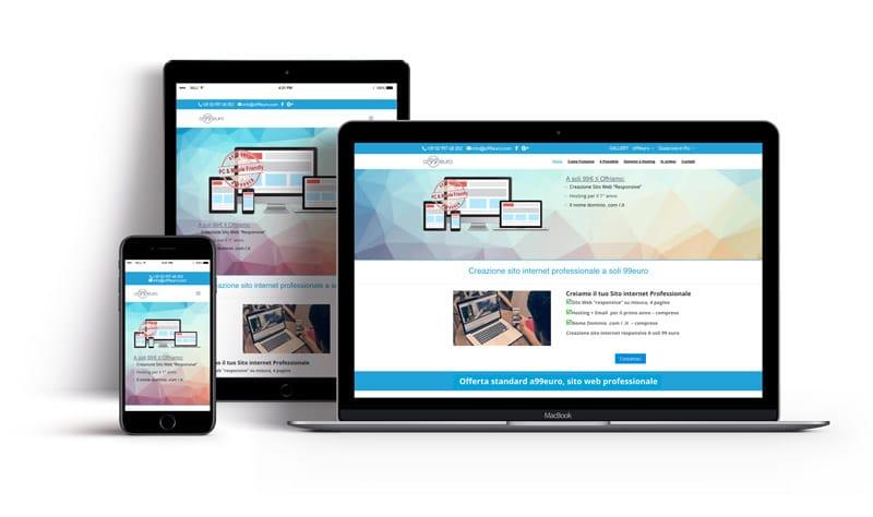 esempio di sito realizzato con a99euro nei diversi dispositivi, pc, tablet, smartphone